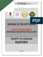 Şırnak İli Silopi İlçesi Sokağı Çıkma Yasağı – Meydana Gelen Hak İhlalleri Tespit ve Gözlem Raporu (14 Aralık 2015-19 Ocak 2016)