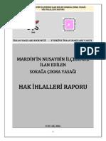 Mardin'in Nusaybin İlçesinde İlan Edilen Sokağa Çıkma Yasağı Hak İhlalleri Raporu