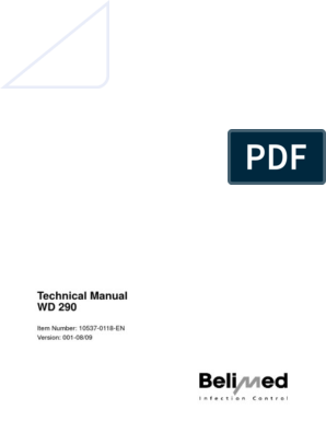 Belimed WD290 Washer Disinfector - Service Manual | Verification And