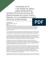 Firma de Convenio Del Sistema Estatal de Cultura Física y Deporte, En Su Modalidad Municipal