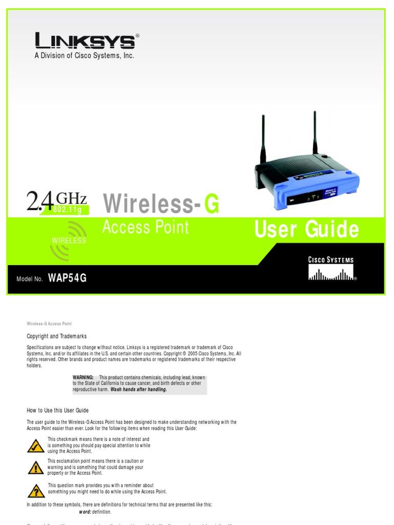 linksys wap54g manual wireless access point wireless lan rh scribd com Linksys Wireless Router Setup Password Netgear Wireless Router