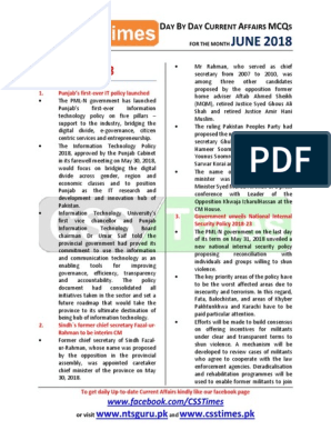Current Affairs Of Pakistan In Urdu Pdf 2018