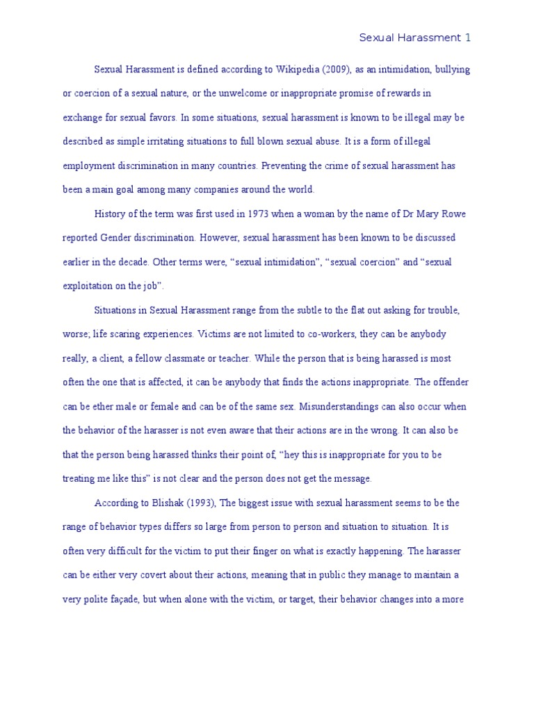 Sexual harassment essay paper