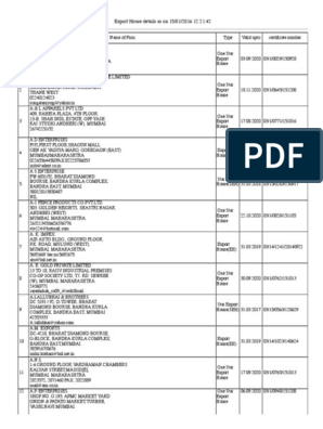 Export House List Pdf Mumbai Economy Of India