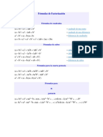 Fórmulas de Factorización