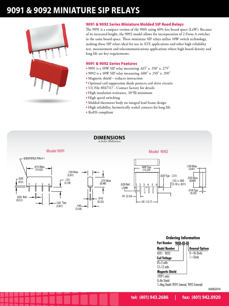 9091 Series Reed Relay Datasheet Inductor Contact Protection Diagram 2