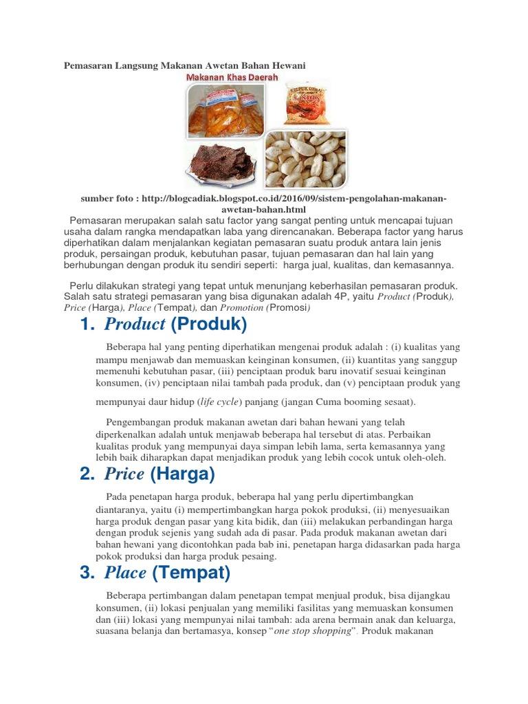 Pemasaran Langsung Makanan Awetan Bahan Hewani