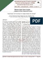 Hybrid Biomass-Solar Power System with Establishment of Raw Material Procure