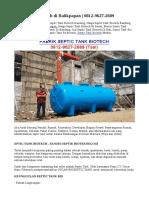 Septic Tank Biotech di Balikpapan | 0812-9627-2689
