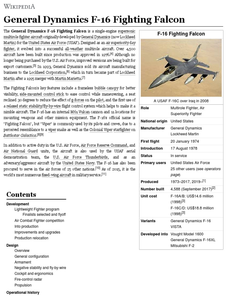 General Dynamics F-16 Fighting Falcon - ingles | General