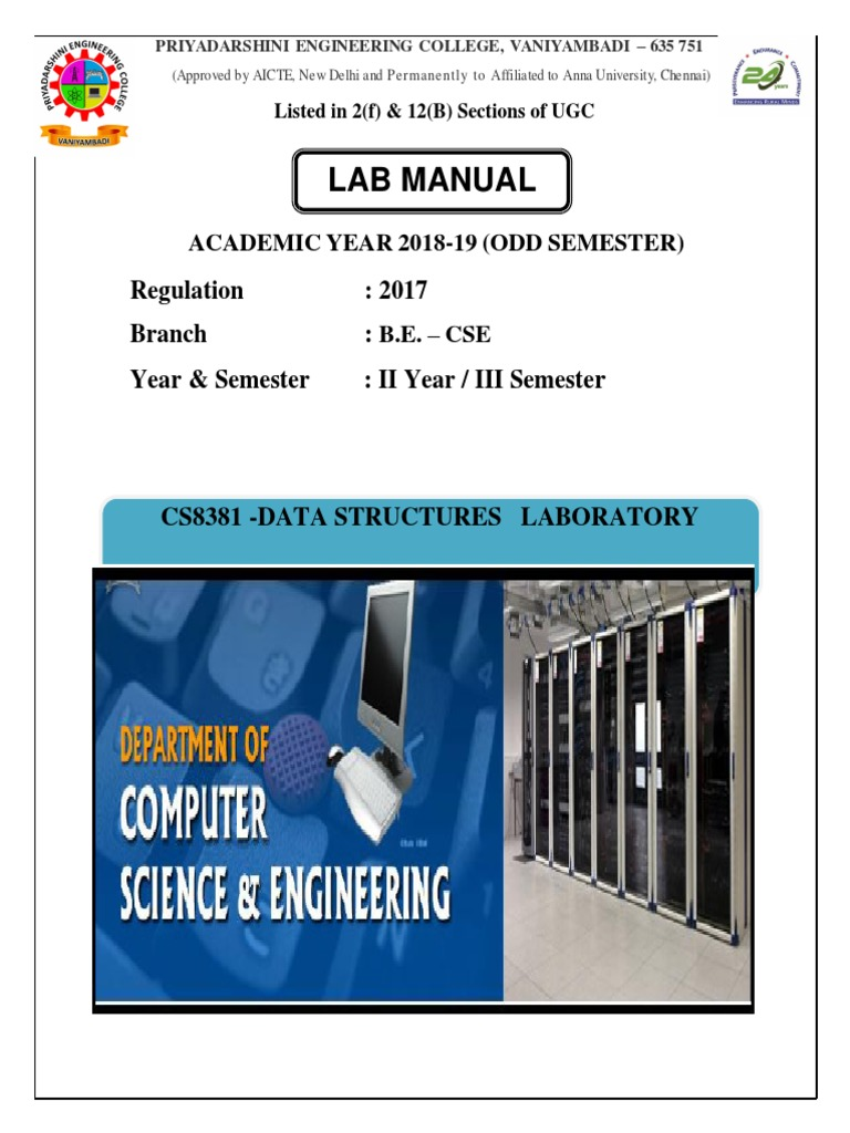 cs8381 datastructures lab manual queue abstract data type rh es scribd com anna university data structures lab manual for cse A&P Lab Manual Answers