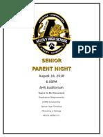 2018 Senior Parent Night Flyer