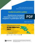 Analiza de Politici Publice IPRE Gestionearea Resurselor Financiare in Gradinitele Din Mun. Chisinau Final 01.08.2018