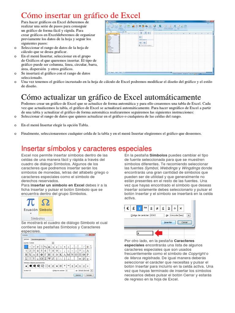 Cómo Insertar Un Gráfico Y Simbolos En Excel