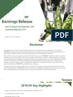 Heineken NV 2018 Half Year Results Presentation