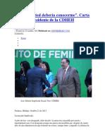 Carta Al Nuevo Presidente de La CDHEH