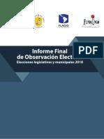 Informe Final de Observación Electoral. Elecciones legislativas y municipales 2018