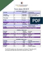 IGS Term Dates 201819