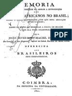 Costa, Memoria Sobre a Necessidade de Abolir a Introdução Dos Escravos Africanos No Brasil