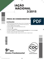 Avaliação Nacional 3/2015 COC
