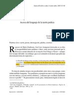 Acerca Del Lenguaje de La Razón Poetica