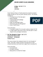 JSS Class Summaries