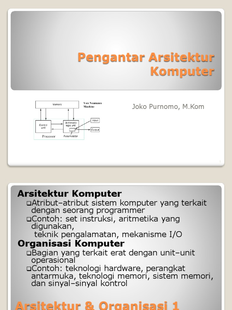 Pengantar Arsitektur Komputer Lec1 1 Set