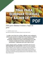 Piña Para Eliminar Toxinas y Bajar de Peso