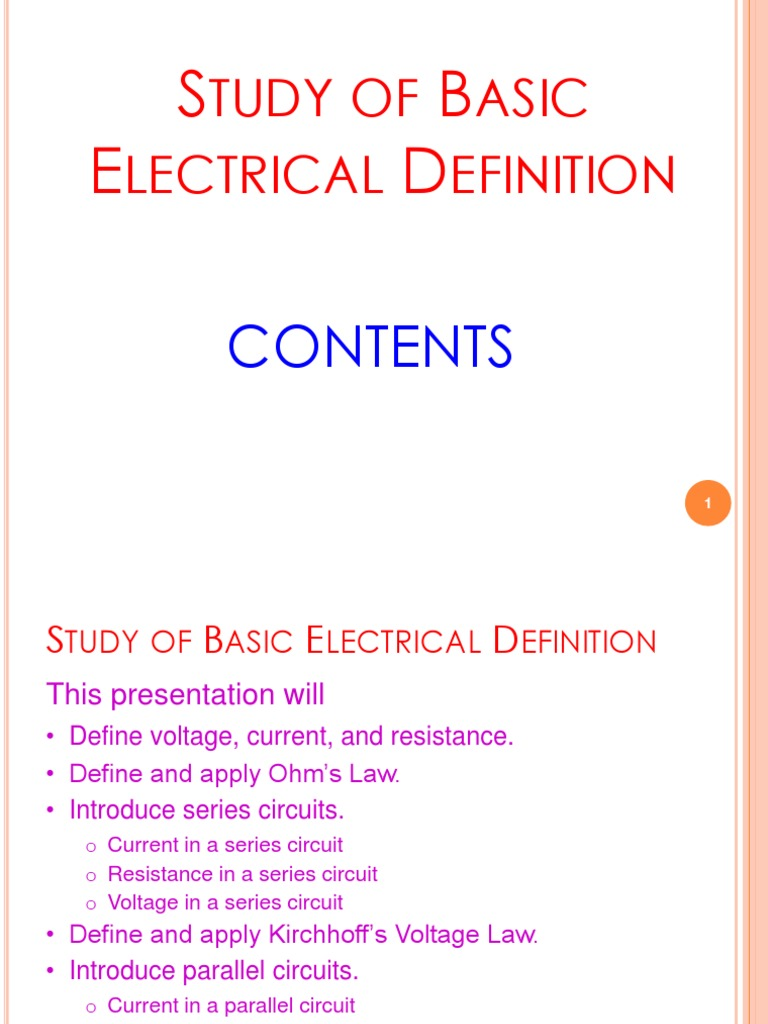 02 Study Of Basic Electrical Definitoin 20170622 Series And Current Circuit Parallel Circuits Electric