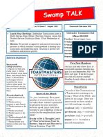 Swamp Talk, Okefenokee Toastmasters newsletter, August 2018