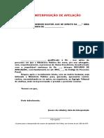 MODELO DE PETIÇÃO DE INTERPOSIÇÃO DE APELAÇÃO E RAZÕES