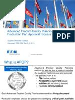 Supplier APQP Process Training (in-Depth)