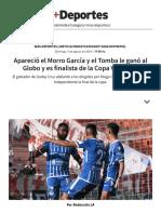 Apareció El Morro García y El Tomba Le Ganó Al Globo y Es Finalista de La Copa Vendimia