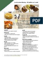 Menu de La Cuisine de Meme Moniq 29 Juillet Au 3 Août