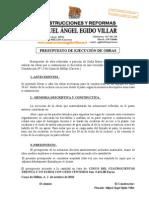 Presupuesto de Obras Maria Pizarro Asensio