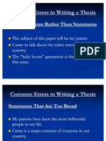 Common Errors in Writing a Thesis