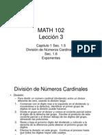 División de Números Cardinales y Exponentes Lección 3