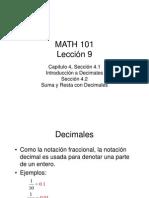 Introducción a Decimales Lección 9