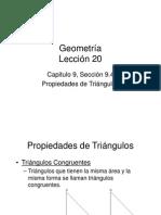 Propiedades de Triángulos Lección 20