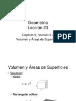 Volumen y Áreas de Superficies Lección 23