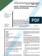 ABNT NBR 14062_1998 - Arsênico_Processos de remoção em efluentes de mineração
