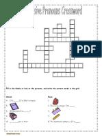 Possessive Pronouns Crossword