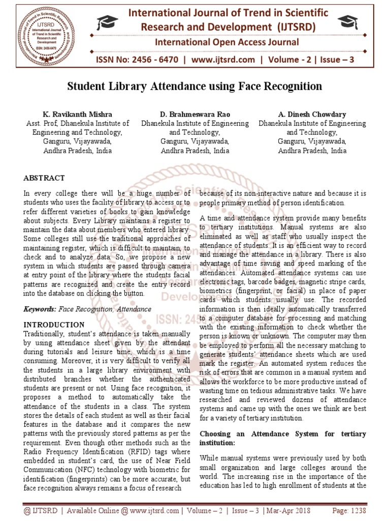Student Library Attendance using Face Recognition | System