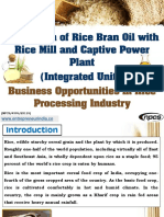Production of Rice Bran Oil with Rice Mill and Captive Power Plant (Integrated Unit)