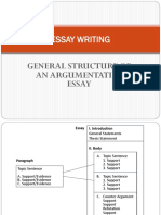General Argumentative Essay Structure