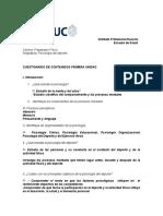 Cuestionario Primera Unidad Introduccion a La Psicologia Del Deporte 2016 (1) - Con Respuestas