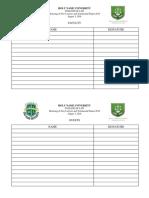 Attendance Sheet Honoring