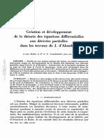 Création et développement de la théorie des équations différentielles aux dérivées partielles