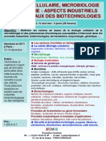 Formation Continue Biologie Cellulaire Biochimie & Microbiologie Aspects Industriels 2011