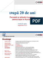 CCSB - 2010 09 a - Pro Democratia - Sondaj democratie - Prime rezultate (fara intrebari deschise)